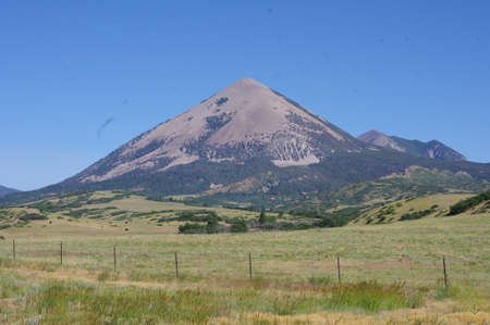cone shaped: Cone shaped mountain in New Mexico Stock Photo