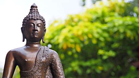 Buddha image in peaceful garden environment.