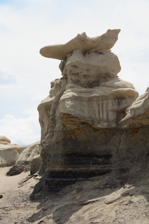 shadowed: Creature in a tricorn hat, facing front, shadowed against white sky, Bisti badlands, vertical