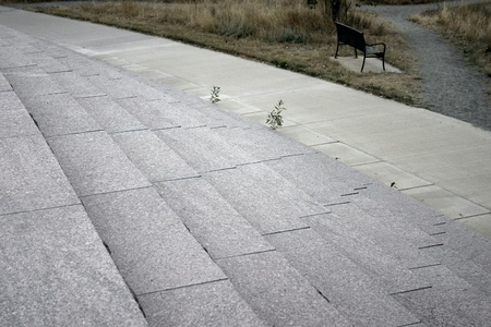 denver parks: Commons Park gray concrete steps with park bench, Denver Stock Photo
