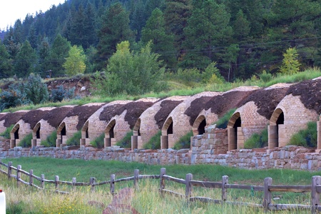 redstone: Line of coke ovens near Marble, Colorado