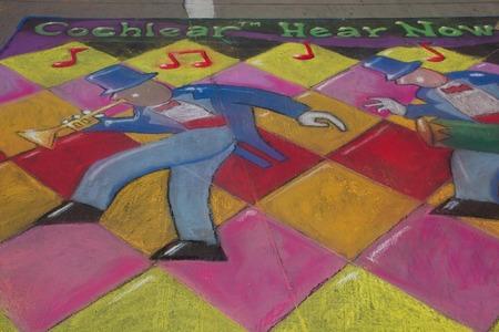cochlear: Denver Chalk Art Festival 2014, Cochlear Hear Now checkerboard