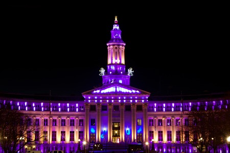 Holiday lights Denver, City and County Building, purple and pink