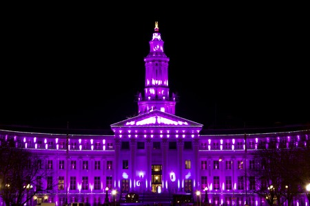 mile high holidays: Holiday lights Denver, City and County Building, purple