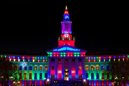Holiday lights Denver, City and County Building, multicolored Editorial
