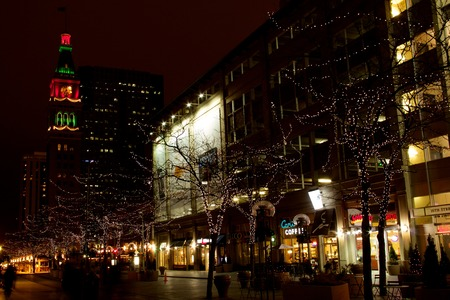 16th Street Mall at night, Denver, with D&F Clocktower in the distance, close view