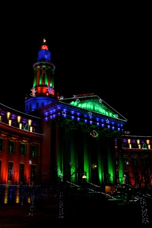 mile high holidays: Holiday lights Denver, City and County Building, vertical