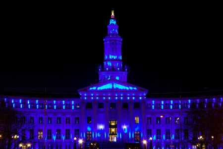 Holiday lights Denver, City and County Building, blue
