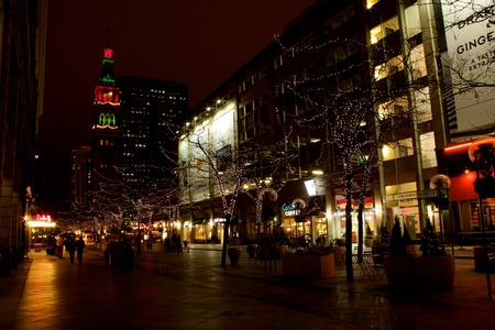 christmas in denver: 16th Street Mall at night, Denver, with D&F Clocktower in the distance, wide view