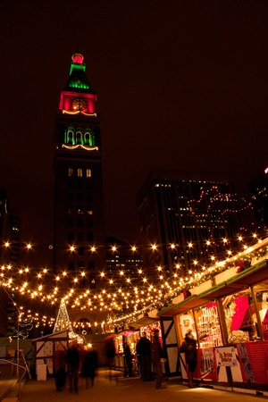 denver 16th street mall: Night shot of Christkindl Market with D&F Clocktower, downtown Denver Editorial