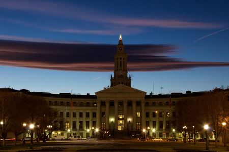 Sunset shot of City and County Building, Denver