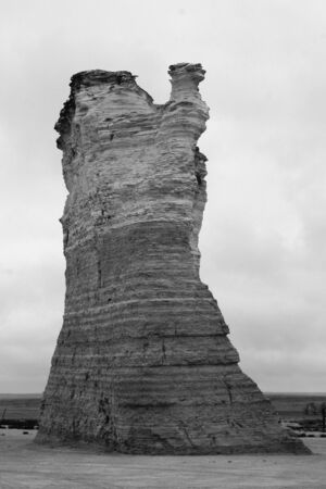 Monument Rocks, Kansas, close-up of camel-shaped butte, black and white photo