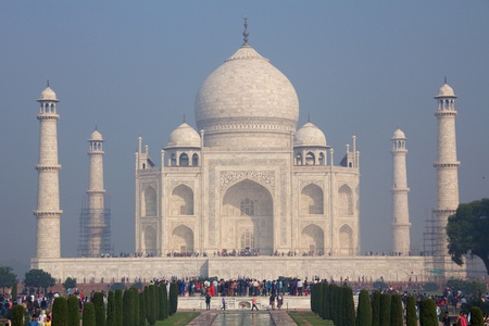 Taj Mahal, front view from the Great Gate, morning fog, scaffolding