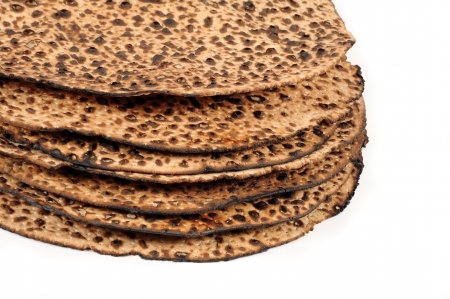 unleavened: Pile of round matzah. Stock Photo