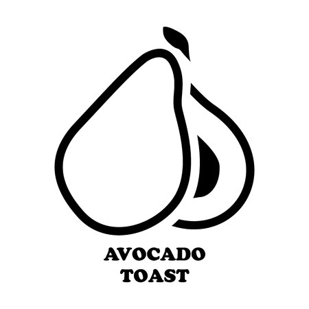 Avocado on white background.Avocado isolated object.Avocado vector. For design, wallpaper, logo, icon, menu, restaurant, cafe, kitchen, birthday.Avocado food. Avocado illustration. Avocado in the style of Doodle. Ilustração