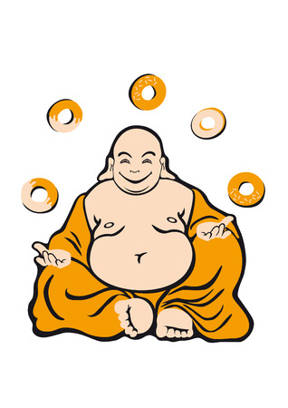 nirvana: Attained enlightenment of Buddha. Jolly fat man. Buddha is a holy man. Seated figure in orange robes. Happy expression. He likes donuts donut And what nirvana Illustration