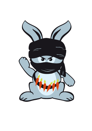 coldblooded: Brutal combat rabbit. Fighting rabbit eco-terrorists. Forest warrior. Masked rabbit with a turban on His head. The struggle for a better environment. Cute bunny with carrots.