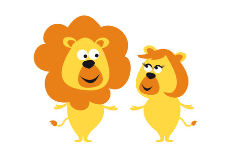 duo: Couple romancing lions. Wild predators or cute animals The king and queen of natures cutest form. Illustration