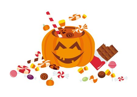 goody: Pumpkin full of candy. Cheerful pumpkins filled with Halloween candy.