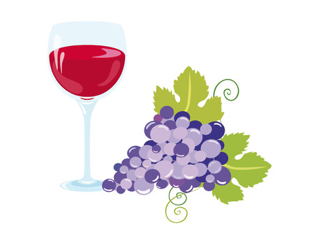 feeling good: A glass of good wine. A glass of good wine with fresh grapes. Warm feeling of comfort and relaxation.