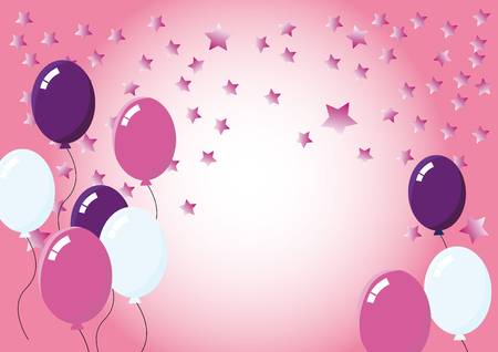 pink balloons: Color party balloons. Pink balloons for party. Sweet pink background with stars. Sweet pink background with stars. Wishes for Valentines Day, girly celebration, birth of a baby girl, invitation to a romantic event. Illustration