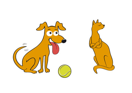 insulted: Cat and dog. Play with me! Friends or enemies Throw me the ball! Illustration