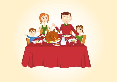 Cena de Navidad de la familia. Felices padres, los niños y una gran cena familiar. Cena de la Navidad tradicional, incluyendo toda la familia, la alegría, la felicidad, la alegría y Turquía. Ilustración de vector