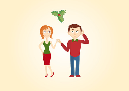 diffident: Christmas couple under the mistletoe. Kiss from a shy guy. Nice Christmas Tradition.