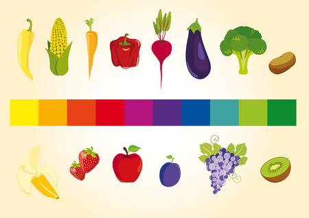 color spectrum: Fruits and vegetables in the color spectrum. Colorful fruits and vegetables full of vitamins. Healthy food is the foundation of your diet. Juicy illustration Tasty.