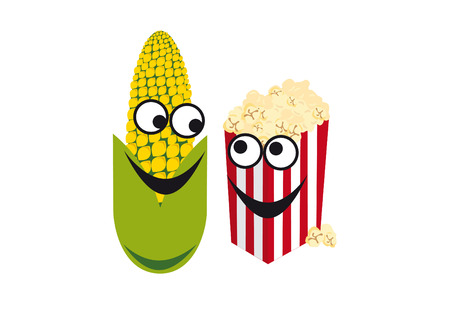 Cheerful corn bucket of popcorn. Corn and popcorn forms a perfect duo. Cartoon character corn. Funny vector illustration. White background with corn