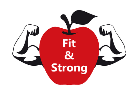 Healthy apple for strength and vitality. Fit and strong.