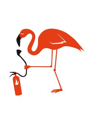 offended: Elegant fragile bird. Pink flamingo - bird burning with fire extinguisher. Funny vector illustration. Cartoon character flamingo. White background with flamingo. Illustration