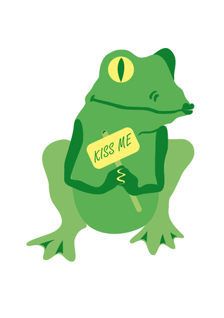 enchanted: Green frog waiting for a kiss. Cute frog. Green frog waiting for a kiss. Funny vector illustration. Kiss the frog and see the magical transformation. Enchanted prince or princess? Cartoon Character Frog. Frog on a white background Illustration