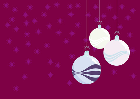 brittle: Christmas decorations - beautiful glass balls. Christmas glass ball with a colored background and waves. Purple background with snowflakes. Christmas vector illustration. Christmas vector background Illustration
