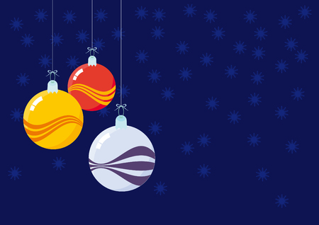 colored background: Christmas decorations - beautiful glass balls. Christmas glass ball with a colored background and waves. Blue background with snowflakes. Blue background with a Christmas decorations. Christmas background. Christmas vector illustration. Christmas vector b Illustration