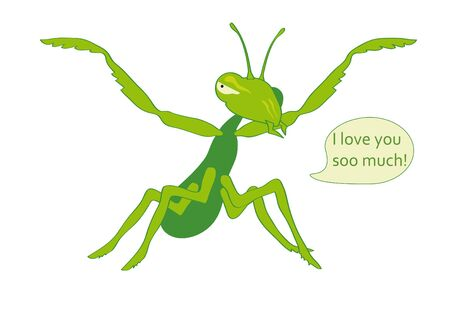 mantis: Mantis eats you with Love. Affectionate and hungry mantis. Illustration