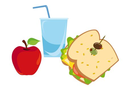 healthy snack: A good start to the day, or light snack during the day. Fresh Breakfast is good for the healthy Lifestyle, with non high level of Calories. Apple, sandwich, water - balanced meal.