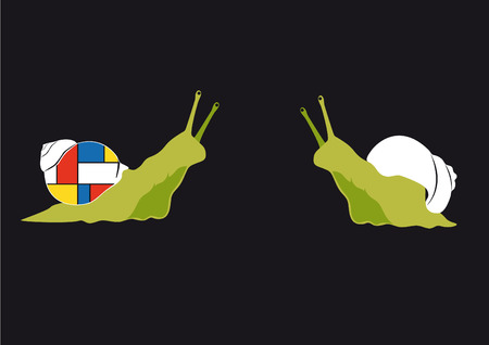 mondrian: Original snail. Be different! Funny snail, who is not afraid of change. Illustration