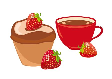 goody: Fresh delicious snack with strawberries. Healthy fresh strawberries with a delicious chocolate cake.