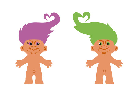 Cute creatures with colored hair. Troll love regardless of appearance. Cute creatures with colored hair. Love blooms at every appearance. No ugly goblin, but nice monster. Loving couple trolls. Figure from Norse mythology.