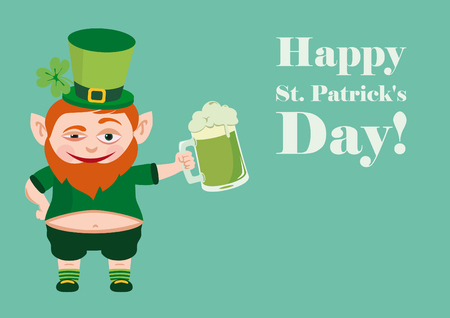 Happy St. Patricks Day. Saint Patricks Day. Celebrated in March, in honor of St. Patrick, the patron saint of Ireland. The symbol is a green color. Celebrating with music, dancing and drinking dark beer.
