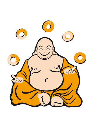 man eater: Buddha attained enlightenment. Jolly fat man. Buddha is a holy man. Seated figure in orange robes. Happy expression. He likes donuts And what donut nirvana Illustration