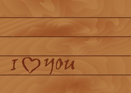 amor: Carved in wood. Romantic inscription on wood. Wooden background with the words.