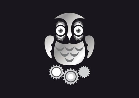 gaze: Mechanical owl on a black background. Beautiful graphics owl. Robotic toy bird on a dark background. Steampunk motive.