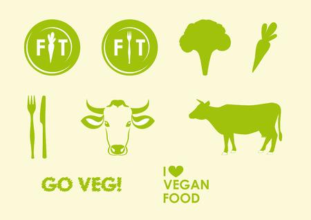 Establecer iconos vegetariana y vegetariana. Logotipo para el estilo de vida saludable. Logos