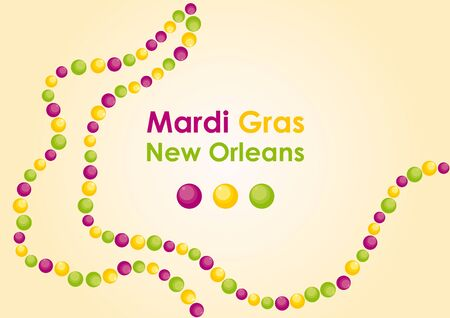 floats: Mardi Gras - masked Carnival in New Orleans. Carnival in the United States, dominated by yellow, green and purple. Floats, costumes and lots of beads. Illustration