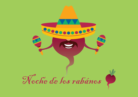 feast: Mexican feast - Noche de los rabanos. Mexican feast with carved radish - Oaxaca. Mexican background in party style. Illustration