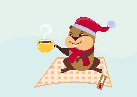 Illustration Groundhog Day. Background groundhog Punxsutawney Phil.  February second to celebrate Groundhog Day.