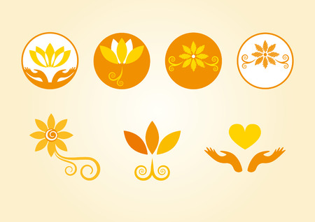contentment: Esoterically decorated flowers. Orange flowers in the logo. Floral esoteric elements.