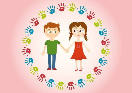 handprints: Two children holding hands amorously. Cute background with kids and handprints.